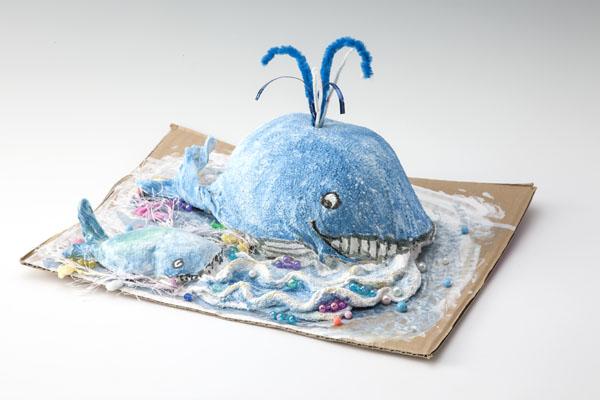 【ホイップねんど】タオルで作った親子クジラ